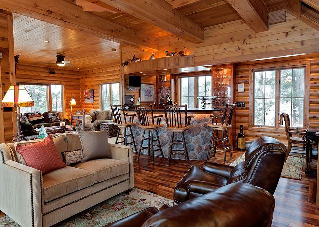 Living Room and Bar Area - The Conger Island Private Vacation Rental Home - Eagle River - rentals