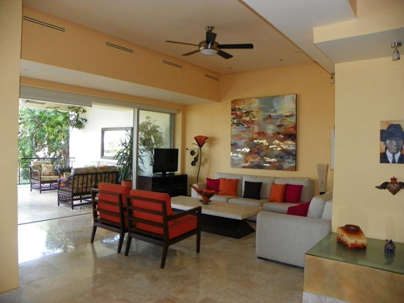 Living room and patio - Casa Bonita, 107 Molino de Agua - Puerto Vallarta - rentals