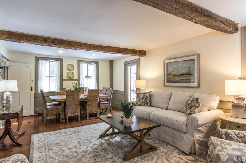 Main Living Room and Dining Area Opens to deck - JORWT - Charming West Tisbury Summer Home, Beautiful Modern Decor, Fabulous - West Tisbury - rentals