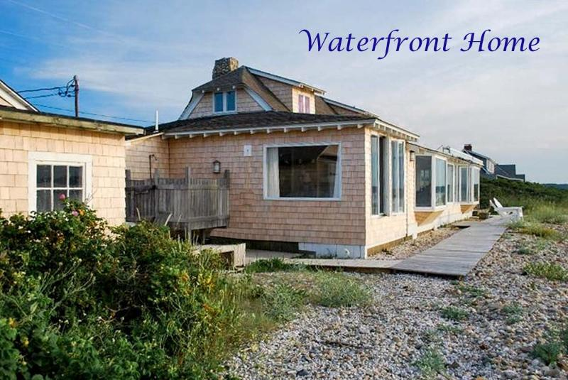 Waterfront Side of House, Ask agent for link to view all exterior summer photos - CENCP - East Chop Waterfront, Ferry Tickets, Extraordinary Views Across the Sound, Beautifully Furnished, Deck directly on the Beach - United States - rentals