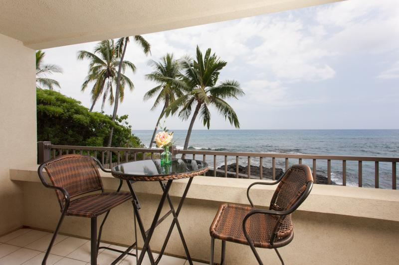 When you arrive, you'll need to have a glass of wine off of the patio. - New Trip Advisor Direct Oceanfront Beauty-DEAL - Kailua-Kona - rentals