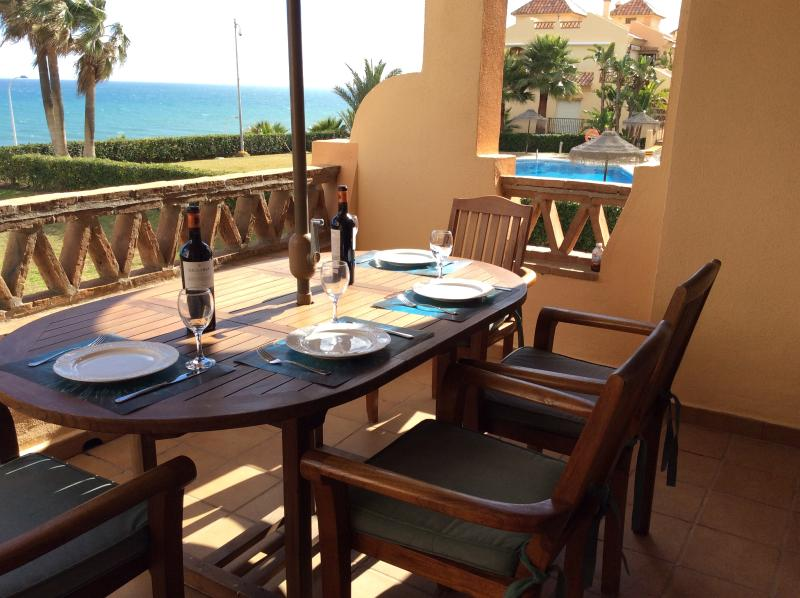 Sea and Pool view with Bar Stools and High Chairs. - Beach Frontline Mijas next2 Club La Costa World+free wifi - La Cala de Mijas - rentals