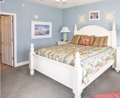 King size master suite with en suite bath and private access to the balcony - Fantastic Snowbird Welcome 3/3 Walk to Pier Park - Panama City Beach - rentals