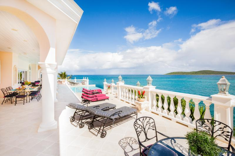 Oceanfront deck. Infinity Pool, multiple dining and seating areas outdoor grill, 8 chaise lounges. - Miramar,  A Magnificent 5 Star+ Oceanfront Mansion - Christiansted - rentals