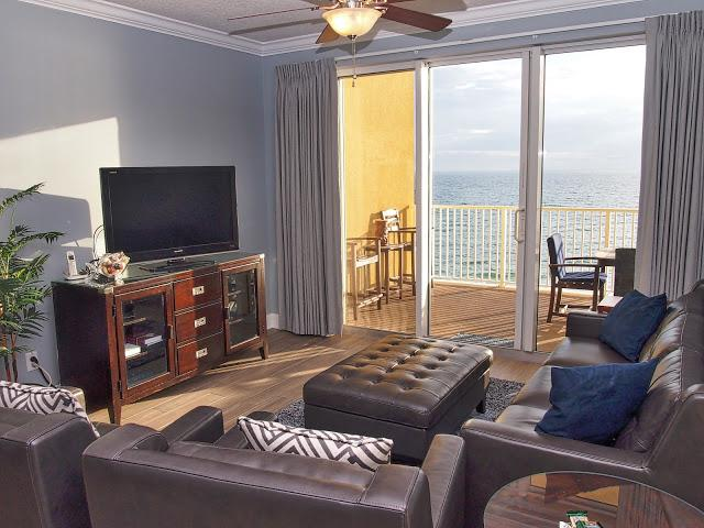 Gorgeous view from the living room! - Beautiful; 3 Bedroom Condo- Directly On the beach! - Panama City Beach - rentals