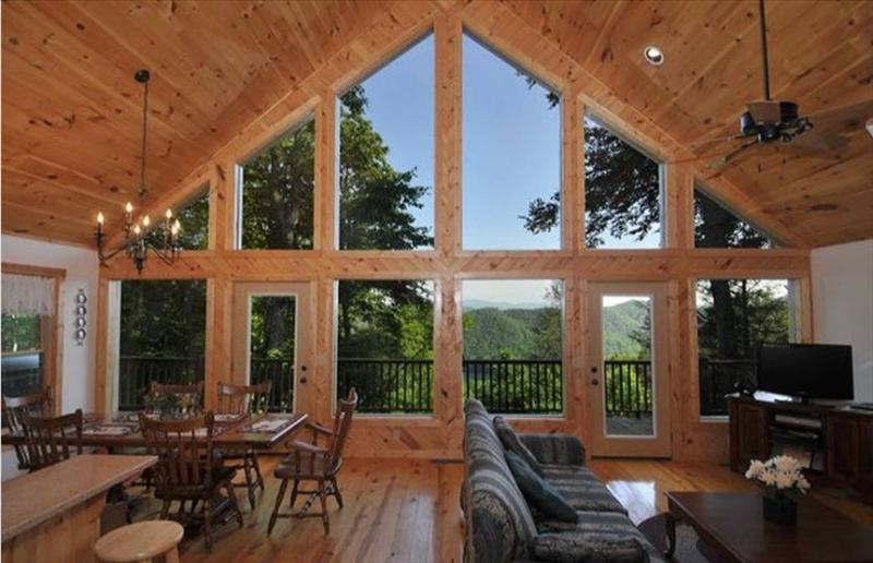 CABIN INTERIOR, FACING LAKE w/ SMOKY MOUNTAIN NATIONAL PARK IN BACKGROUND - Freebies, Great Views, Sat TV, Wi-Fi, Cell Signal - Topton - rentals