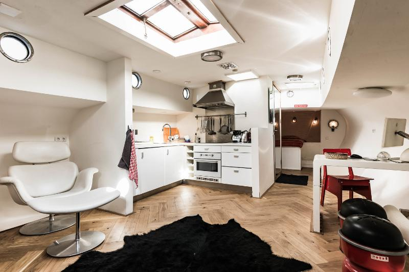 Open Plan Living Room & Kitchen - B28 HOUSEBOAT ON THE HERENGRACHT IN AMSTERDAM - Amsterdam - rentals