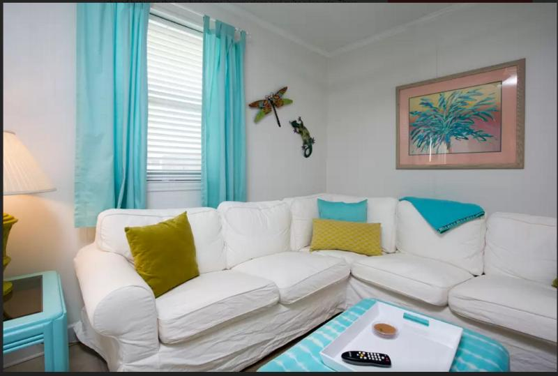 Wonderfully comfortable living room for sharing the good times with your family - Papou's Place: Adorable Beachside Bungalow - Tybee Island - rentals