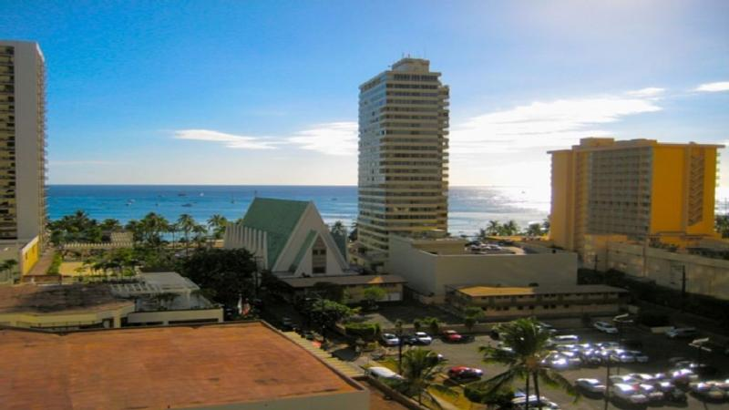 Ocean View of Waikiki Beach from bedroom and kitchen - Waikiki Banyan Corner Unit - Beautiful Ocean View - Waikiki - rentals