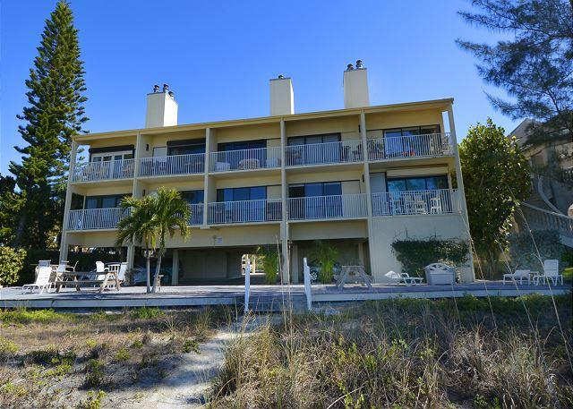 Beachside View of Bldg - Direct Gulf Front Two Bedroom/Two Bath Condo on the Narrows - Indian Shores - rentals