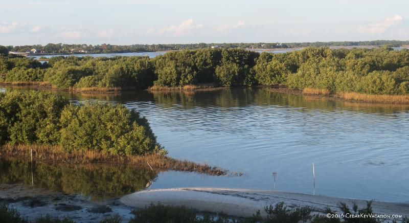 Late afternoon view from Serenity's balcony. The colors are ever-changing. - Serenity - Cedar Key Waterfront Vacation Rental - Cedar Key - rentals