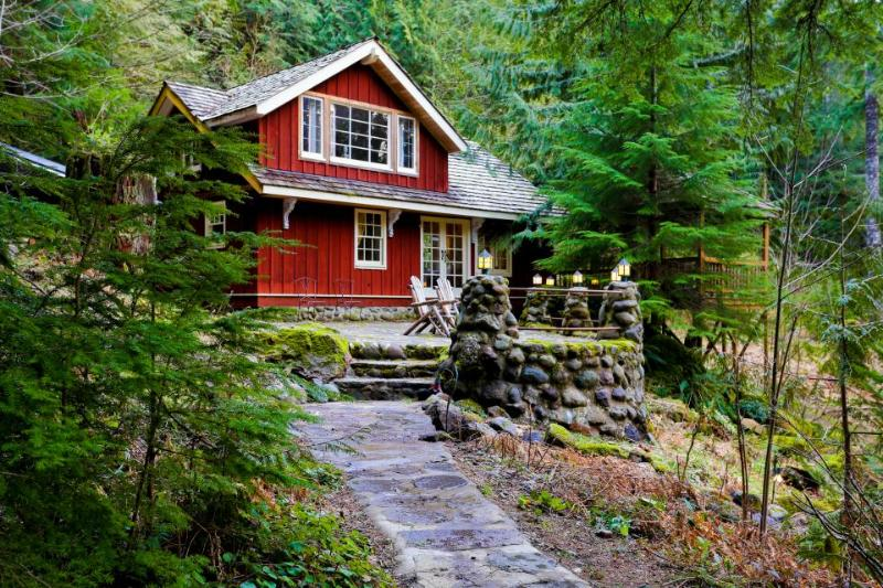 Memorable riverfront lodge with stone patio, luxe outdoor dining, & fireplace. - Image 1 - Rhododendron - rentals