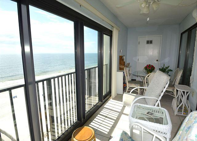 Glass Enclosed Balcony - Gulf Tower 7C ~ Master Bedroom Balcony Access~Bender Vacation Rentals - Gulf Shores - rentals