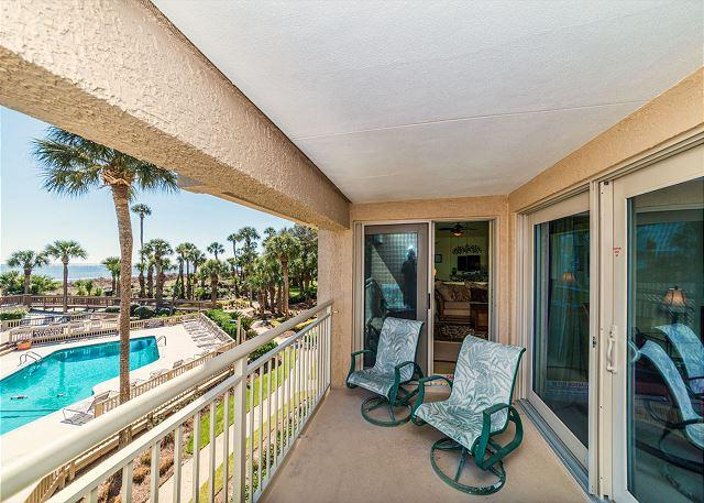 Balcony - - Captains Walk 436, Oceanfront, Deluxe 2 Bedroom, Large Pool - Hilton Head - rentals