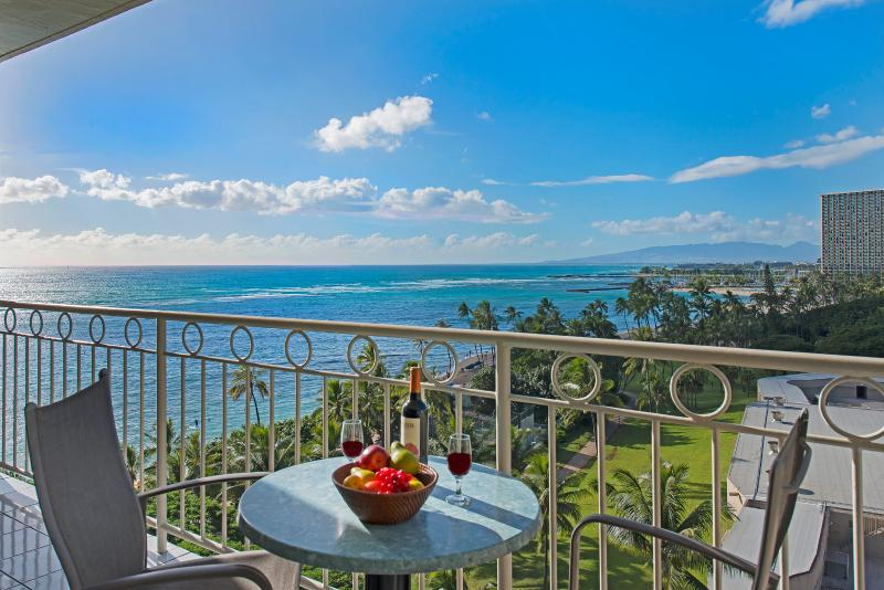 Dine & Relax with this scene on your Private Lanai! - New Beachfront Condo with Breathtaking Views! - Honolulu - rentals