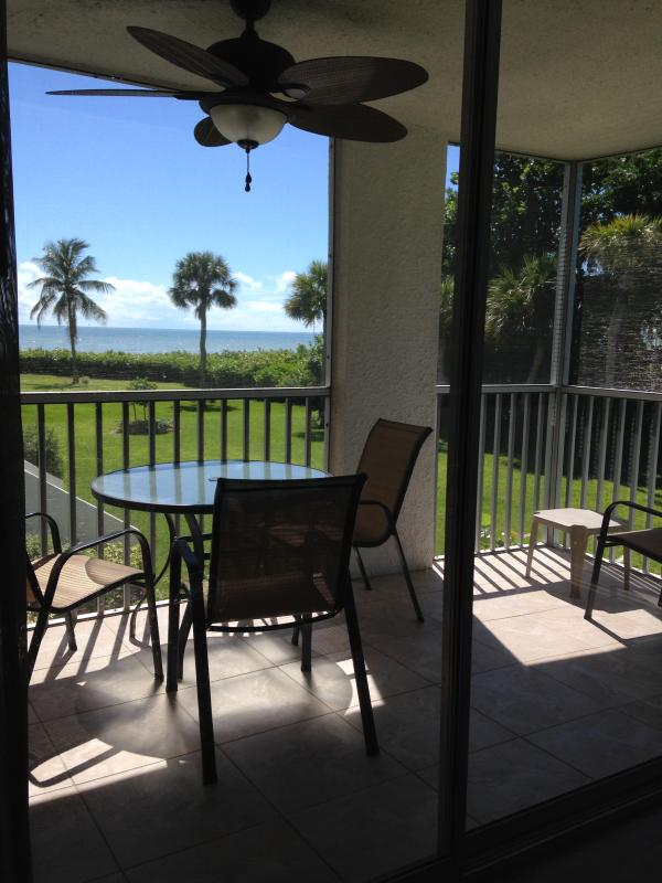 Screened in lanai and gulf view from condo - Island Beach Club Remodeled Condo Gulf View #210C - Sanibel Island - rentals