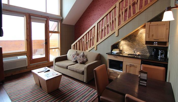 Towering ceilings and huge windows make this suite bright and airy - Banff Fox Hotel & Suites Premium 1 Bedroom + Loft Suite - Banff - rentals