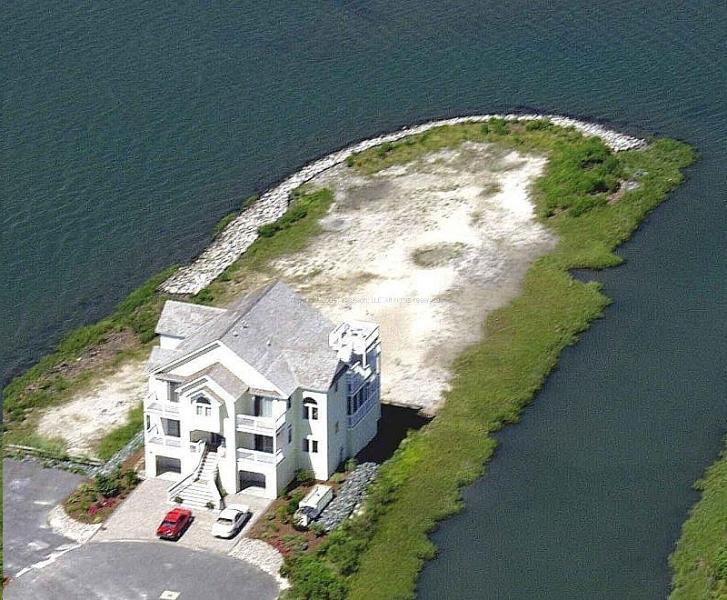 Waters Edge - aerial view of entire property.  Surrounded by water on 3 sides - Luxurious Bayfront Home on Private Peninsula - Bethany Beach - rentals