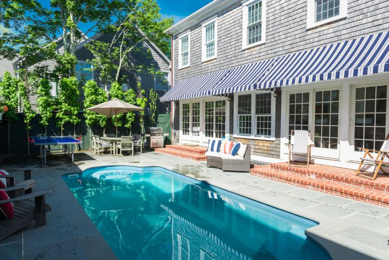 Pool, Patio, Grilling and Ping Pong - centered between Main and Guest House - OCONS - Luxury Main and Guest House, Heated Pool, A/C, Located in Village Area, Walk to Light House Beach - Edgartown - rentals