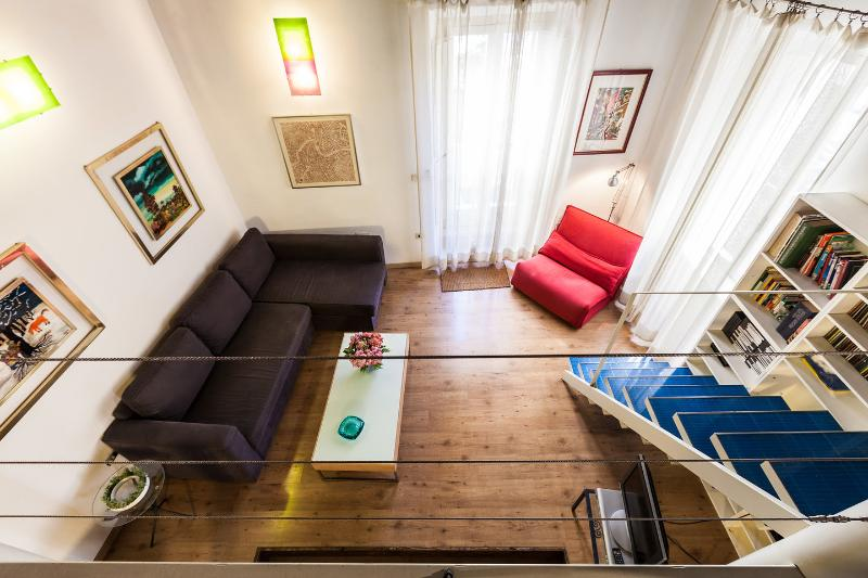 View from Bedroom on loft and access to terrace. - Cozy and modern studio apartment with loft area. - Rome - rentals