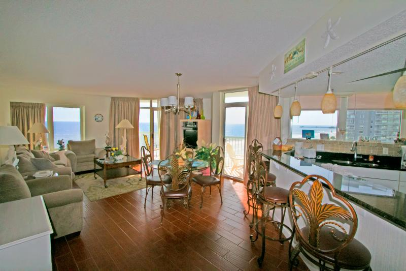 View from front door. Open floor plan with water views everywhere. Direct Ocean. - SEAWATCH-3BR/2BA-Direct. Ocean, Gorgeous & Upscale-Sleeps 8-10-Amazing Views - Myrtle Beach - rentals