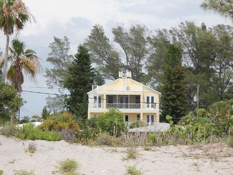 View of the home from the beach, 1 minute walk across an empty lot. - Gulf views - New(2014) 5 bedroom,4 baths, Elevator - Manasota Key - rentals