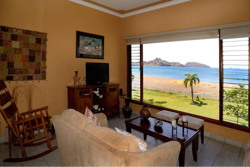 Our fantastic beachfront living room view of Playa Potrero! - Paradise is yours with Beachfront Condo Azul! - Playa Potrero - rentals