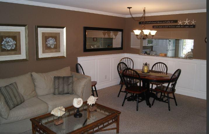 Living and Dining area. - Ocean Edge Townhome - Renovated, new central A/C!! - Brewster - rentals