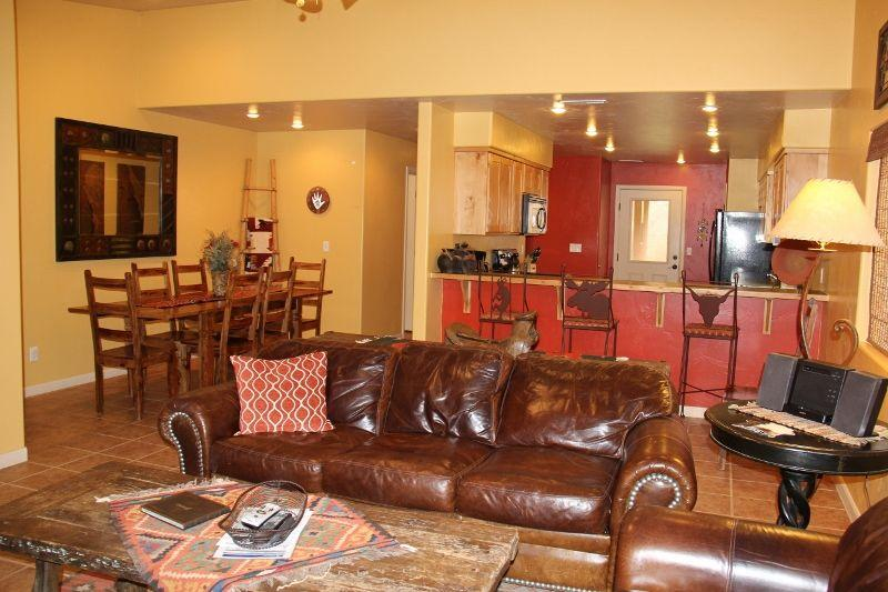 Large living area, open to the kitchen! - DESERT WILLOW - POOL/HOT TUB/AIR HOCKEY/FOOSBALL!! - Moab - rentals