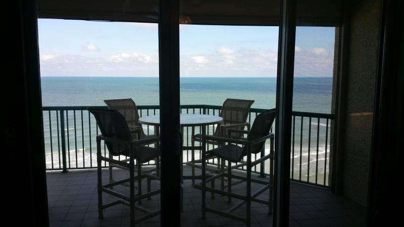 Direct oceanfront high top dining table and chairs so you see over the balcony - Newly Renovated Direct Oceanfront Condo, Gorgeous - Daytona Beach - rentals