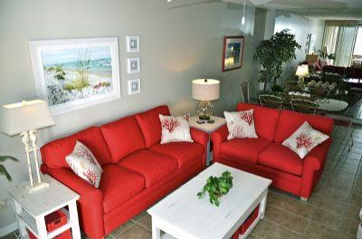 "Living Room--refurnished in 2015! - ON THE BEACH!  ""Beach Blessings"" is our condo's name . . . Come see Why! - Orange Beach - rentals"