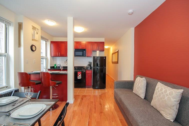 Beautiful living room & open kitchen area. Full of light. - Hamilton Heights: Lovely New 2 Bedroom - New York City - rentals