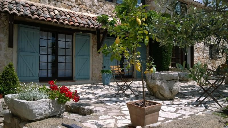La Cour patio. Please note that weekly rates include welcome dinner for guests in July and August - Stunning 1 Bedroom in Provencal Farmhouse, with a Pool - Mons - rentals
