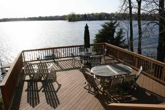 Large deck with west views of main lake. - Beautiful Lakefront Home on Okauchee Lake - Nashotah - rentals