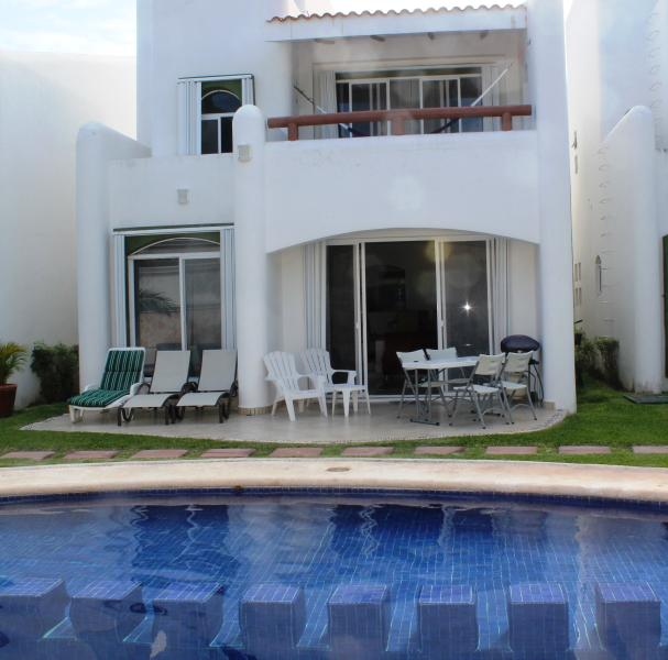 Large well furnished patio just steps from the large pool with a shallow kids section - Luxury Playacar Villa Great Location Walk to Beach - Playa del Carmen - rentals