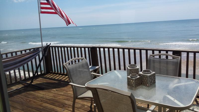 Large deck off the Great Room - Warm Ocean and Perfect Fall Temps at Oceanfront - North Topsail Beach - rentals