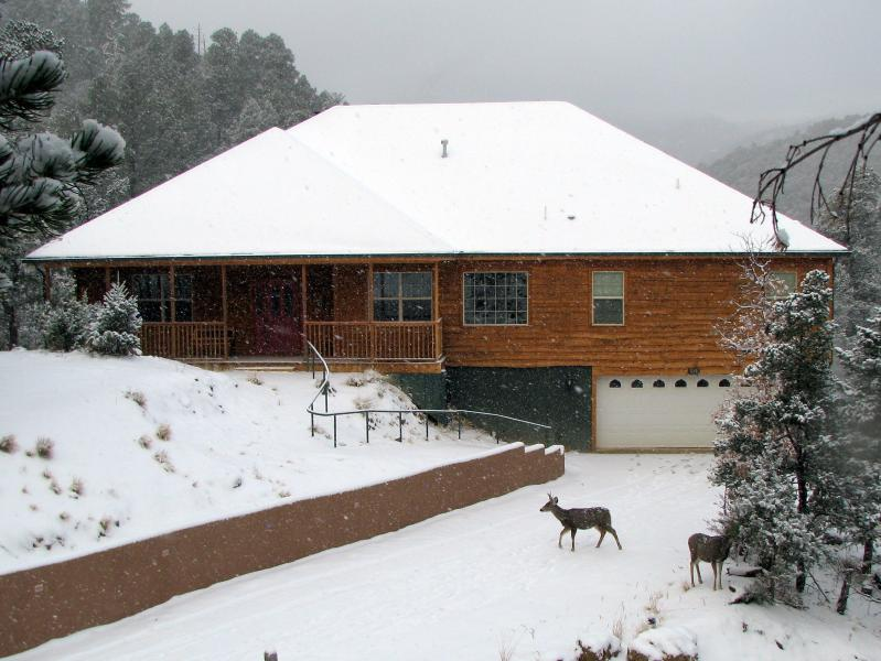 Twin Mountain Cabin in Winter. - Twin Mountain Cabin - Secluded, Upper Canyon Home - Ruidoso - rentals