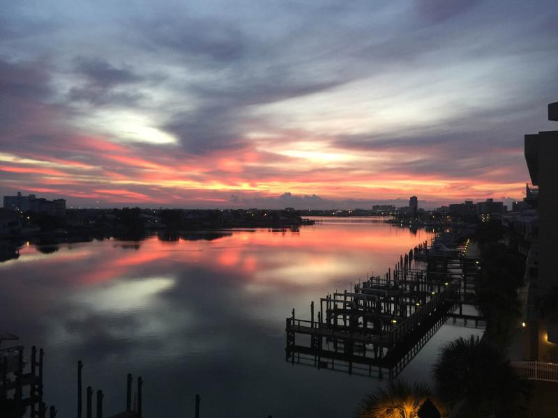 Sunrise view from our Balcony - Luxury Waterfront Condo at Harborview Grande #405.  3 Br/2 full baths, sleeps 8 - Clearwater - rentals