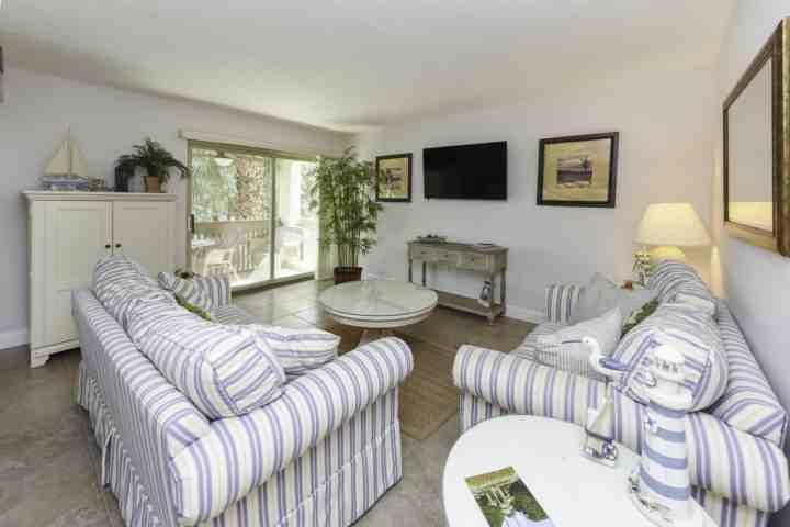 Comfortable Family Room with Queen Sofa Sleeper - Fresh & Fun 2 BR  Bluffs Villa in South Beach - 2 minute walk to Salty Dog - No Hurricane Damage! - Hilton Head - rentals