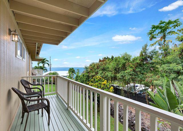 Lanai off Master with Ocean Views - Ocean View Condo Just Steps to Kahalu'u Beach! Kahalu'u Mauka - Kailua-Kona - rentals