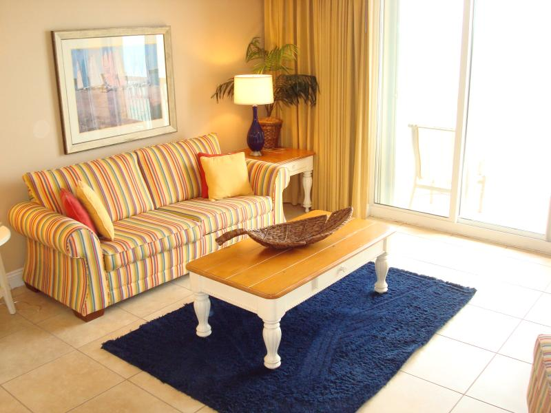 Bright & cheery living room with a walk-out balcony & great views of the Gulf - 2017 FAMILY FAV @ CALYPSO! FREE Bch Chrs & WIFI - Panama City Beach - rentals