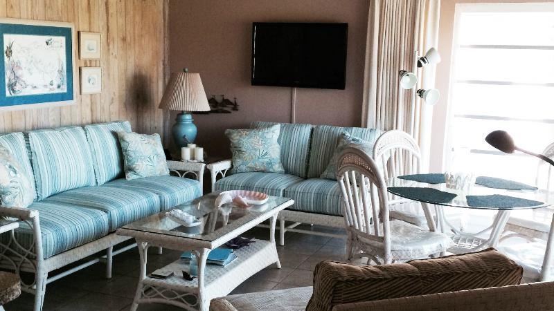 Living room with flat screen TV and brand new furniture - Villa Bahama in Treasure Cay, Abaco, Bahamas - Treasure Cay - rentals