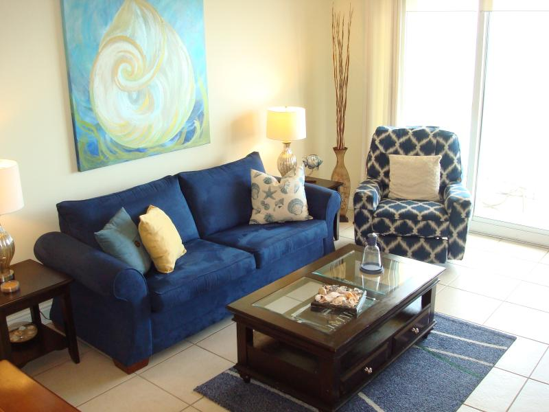 Spacious living area with walk-out balcony & excellent views of the Gulf & beach - ESCAPE WINTER GO COASTAL @ CALYPSO!  Rsrvd Prkg - Panama City Beach - rentals