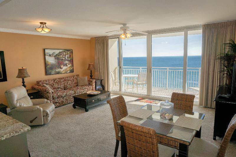 Bright, open and airy living room with floor to ceiling windows and balcony doors - 10% Apr Disc Spectacular View from 13th Flr Beachfront, Slps 6  w/beach chairs - Panama City Beach - rentals