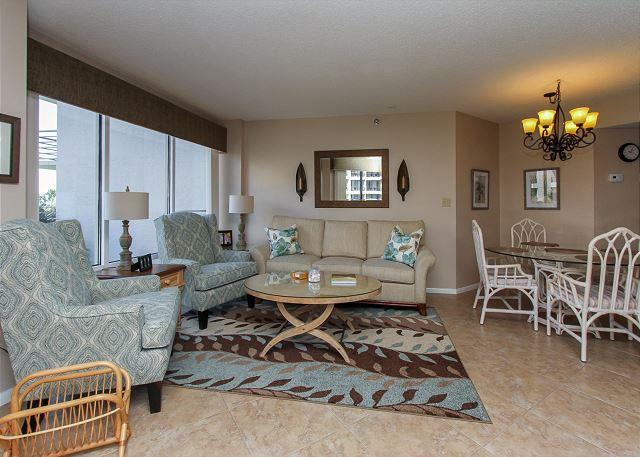 Living Area - 1209 Villamare - Newly Updated with Oceanviews.  Book NOW - Hilton Head - rentals