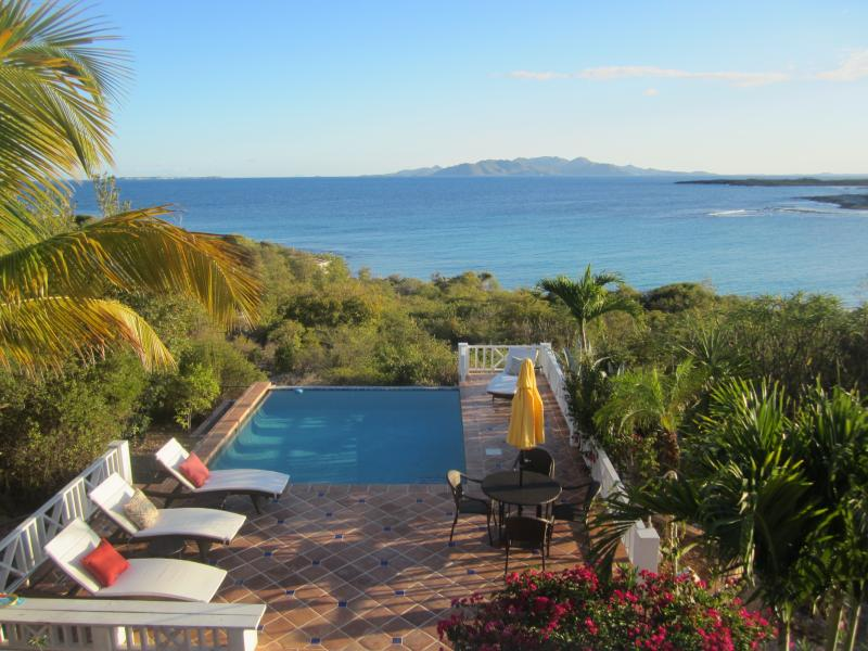 relax by the pool and enjoy the amazing view! - Stunning Sea Feathers Villa - Shoal Bay Village - rentals