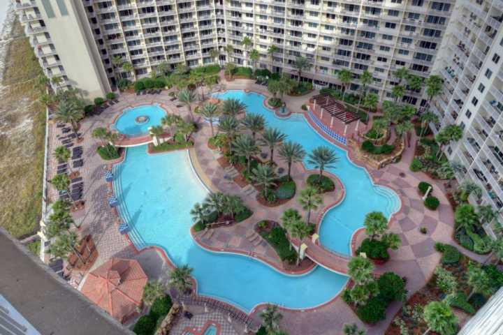 View from your balcony of the 18,000 square foot lagoon pool - 1629 Shores of Panama - Panama City Beach - rentals