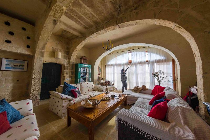 Millroom living room.  - Gozo Farmhouse Dhyana, Oasis of Tranquility WIFI - Ghasri - rentals