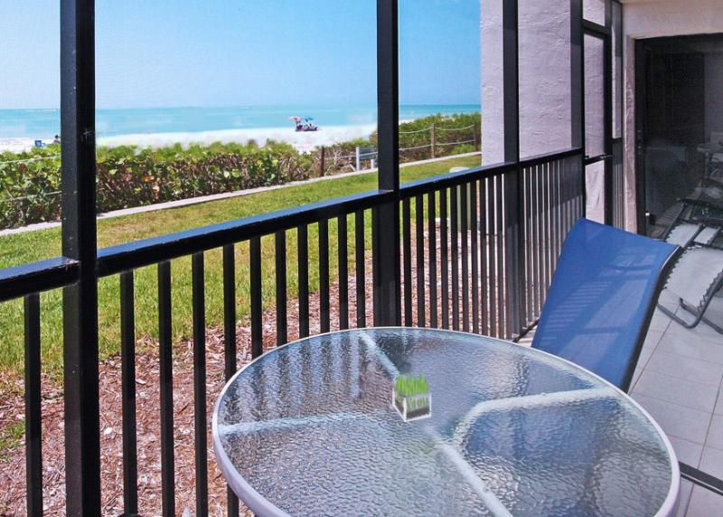 Screened Lanai and Walkout to Beach. Watch the Dolphins frolic. - Luxury Direct Beachfront Walkout 2BR Den W/2 Free - Sanibel Island - rentals