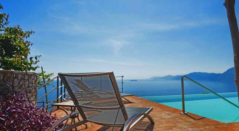 01 Villa Divina pool area with sea view - VILLA DIVINA Praiano - Amalfi Coast - Praiano - rentals